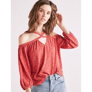 Lucky Brand Ditsy Floral Off Shoulder Top XL Red